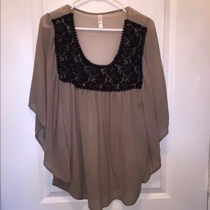 Taupe and black top